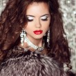 Fashion lady, Beautiful woman in fur coat posing in luxury brill — Stock Photo #23295698
