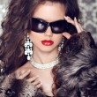 Luxury and Fashion Portrait of stylish woman model with sunglass — Stock Photo