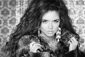 Beautiful Woman in Luxury Fur Coat. Black and white photo — Stock Photo