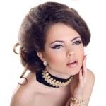Glamourous closeup female portrait. Fashion evening elegance eye — Stock Photo #23342356