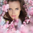 Stare.  Beautiful woman in pink blossoms on spring day — Stock Photo