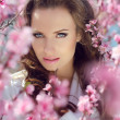 Stare. Outdoors portrait of Beautiful womin pink blossoms on — Stock Photo #23630211