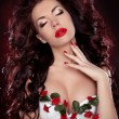 Hot Red Lips. Portrait of sexy brunette girl with professional m - Stock Photo