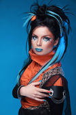 Makeup. Punk Hairstyle. Close up portrait of Rock girl with Blue — Stok fotoğraf