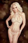 Perfect womans body. Young beautiful blond woman wearing sexy li — Stock Photo