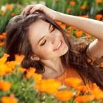 Enjoyment - free smiling woman enjoying happiness. Beautiful wom — Stock Photo #25306225