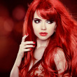 Coloring Red Hair. Fashion Girl Portrait With Long Curly Hair ov — Stock Photo