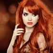 Red Hair. Beautiful Woman. Healthy Long Hair. Beauty Model Girl. — Stock Photo