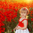 Smiling little girl in red poppies filed, sunset. Outdoors portr - Foto de Stock