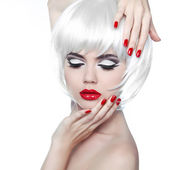 Makeup and Hairstyle. Red Lips and Manicured Nails. Fashion Beau — Stock Photo
