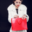Fashion model woman with shopping bag. Isolated on black backgro — Stok fotoğraf