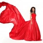 photo de mode de jeune femme magnifique en robe rouge o isolés — Photo #28156249