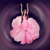Fashion art photo of young beautiful woman in blowing dress. Stu — Stock Photo