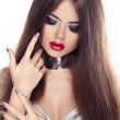 Beautiful Brunette Girl with Red Lips and Healthy Long Hair Isol — Stock Photo