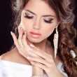 Beautiful bride woman portrait in white dress. Fashion Beauty Gi — Stock Photo #31276491