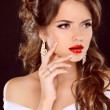 Elegant girl with red lips. Beautiful Woman. Hairstyle. Makeup.  — Stock Photo
