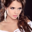 Stock Photo: Beauty fashion girl model. Stare. Allure brunette womwith ric