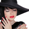 Beauty Brunette Woman with glamour bright makeup and red manicur — Stock Photo