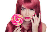 Beauty Girl Portrait holding lollipop with Colorful Makeup, Colo — Stock Photo
