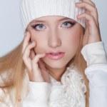 Portrait of beautiful young girl wearing winter clothing studio — Stock Photo #31941953