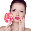 Bright makeup. Beauty Girl Portrait holding Colorful lollipop. P — Stock Photo #31959697