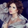 Winter Beauty Woman in Luxury Mink Fur Coat. — Stock Photo