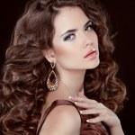 Wavy Hair. Beautiful Sexy Brunette Woman. Healthy Long Brown Hai — Stock Photo