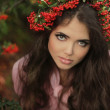Portrait of the beautiful girl close-up. Autumn Woman Portrait. — Stock Photo