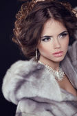 Model with long wavy hair in Luxury Mink Fur Coat — Stock Photo