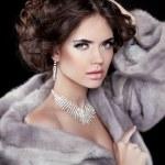 Portrait of the beautiful fashion woman wearing in mink fur coat — Stock Photo #36086367