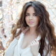 Portrait of beautiful brunette womin fashionable clothes posi — Stock Photo #37788619
