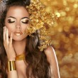 Fashion Beauty Girl Isolated on golden bokeh lights Background. — Stock Photo