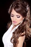 Glamour Fashion Woman Portrait. Makeup. Beautiful brunette with — Foto Stock