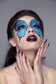 Makeup. Manicured nails. Fashion face art portrait. Beautiful mo — Stock Photo