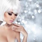 Fashion Blond Girl. Beauty Portrait Woman. Makeup. White Short H — Stock Photo #41551015