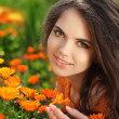 Happy smiling girl. Beautiful Romantic Brunette female Outdoors — Stock Photo