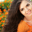 Happy smiling girl. Beautiful Brunette Girl. Healthy Long Hair. — Stock Photo