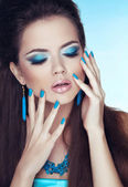 Makeup. Manicured nails. Glamour Fashion Woman Portrait. — Stock Photo