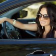 Smiling woman sitting in car, Happy girl driving automobile, out — Stock Photo #48997875