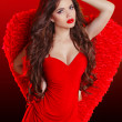 Beautiful brunette fashion girl model posing in red dress with w — Stock Photo