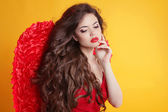 Brunette Beautiful Angel Girl model with wavy long hair isolated — Stock Photo