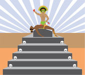 Aztec sacrifice — Stock Vector