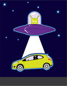 UFO car abduction — Stock Vector