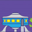 Stock Vector: UFO house