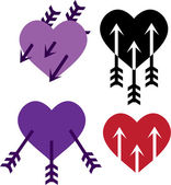 Three arrows in the heart — Stock Vector