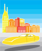 Hovering car Cityscape — Stock Vector