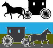 Amish Wagon — Stock Vector