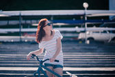 Bicycle girl — Stock Photo