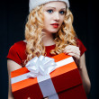 Santgirl with giftbox — Stock Photo #36280111