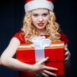 Santgirl with giftbox — Stock Photo #36280151